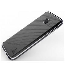 Алюминиевый бампер кожаная накладка Luphie Samsung S7